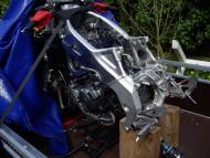 Yamaha aluminium chassis is hersteld en kan terug naar Yamaha-dealer